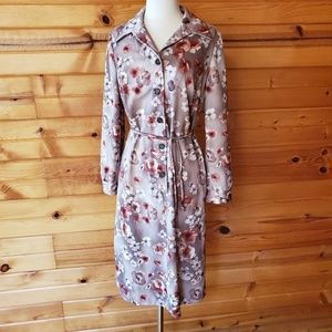 1960s Unlabeled Tan Floral, Polyester Dress